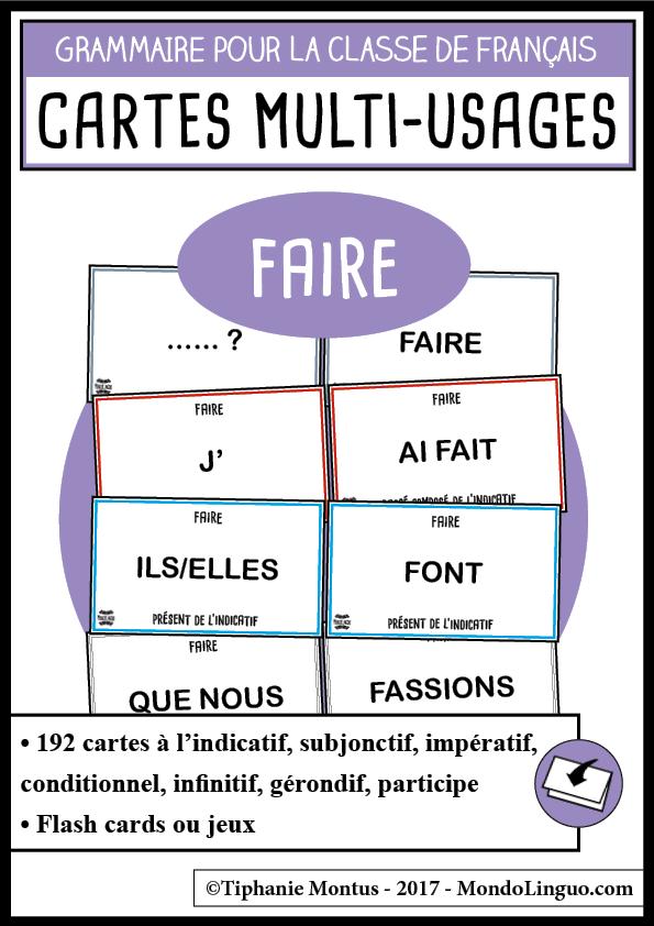 Cartes De Conjugaisons Fle Verbe Faire Mondolinguo Francais Fle Cartes Verbe Faire