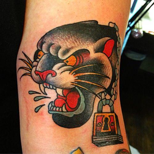 Panther head tattoo by Kasper #traditionaltattoo # ...