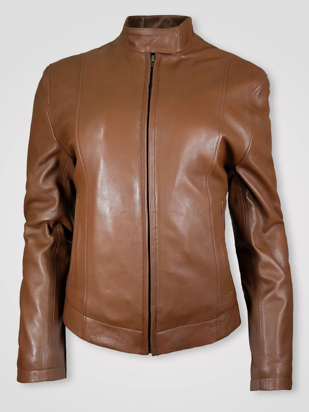 Classic biker jacket for women's with cross pockets in tan