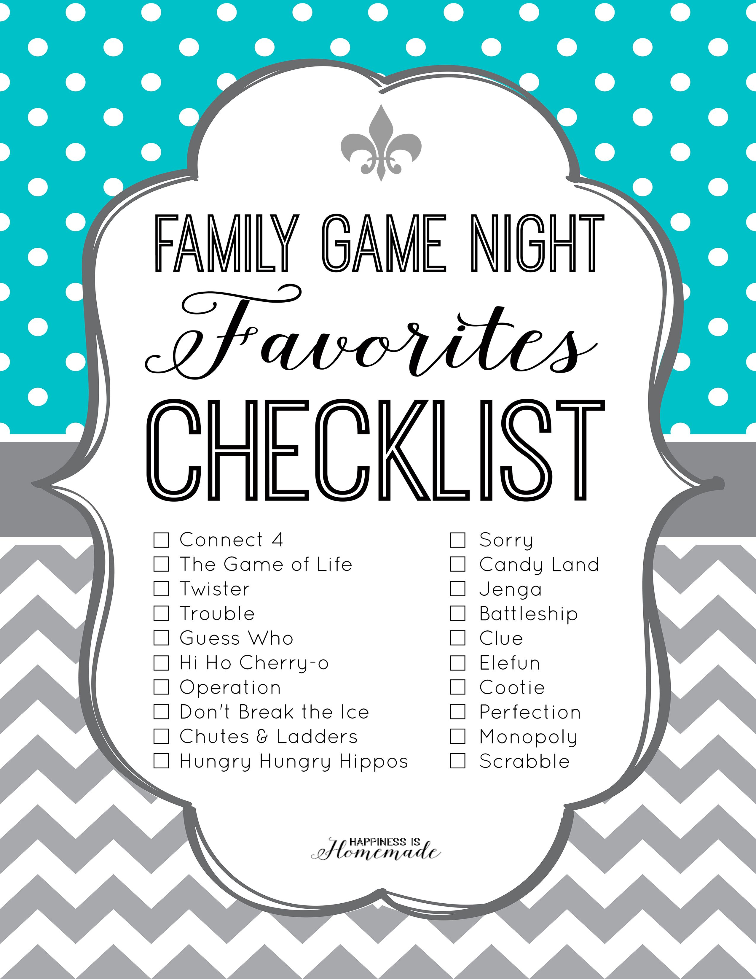 Family Game Night Favorites Printable Checklist from
