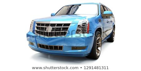 Big Blue Premium Suv On A White Background 3d Rendering 3d Cars