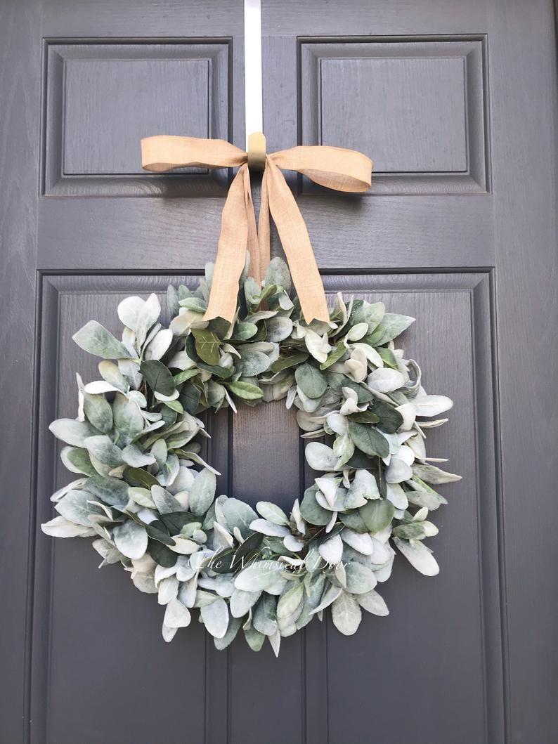 Photo of Lambs ear with eucalyptus wreath Eucalyptus and Lambs Ear Wreath, Greenery Wreath, Farmhouse Wreath, Mini Wreath, Wreaths for front door