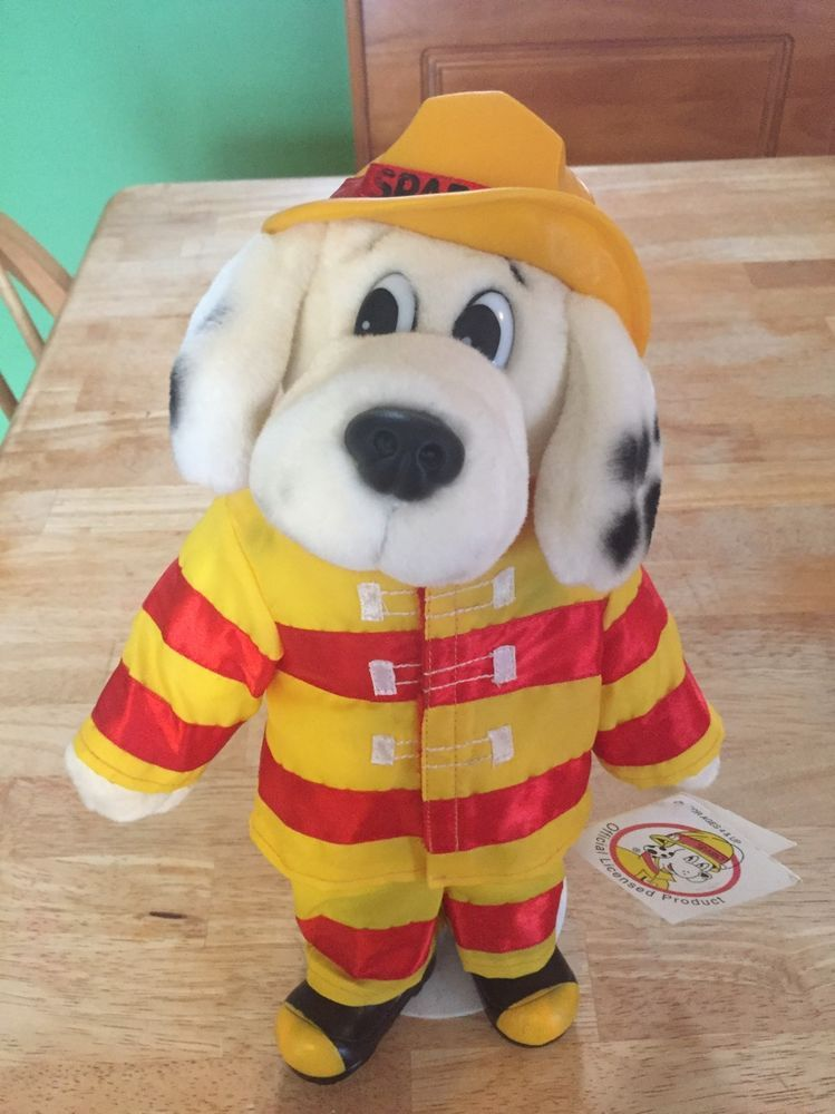 Official Sparky The Fire Dog Plush Doll On Stand New With Tags