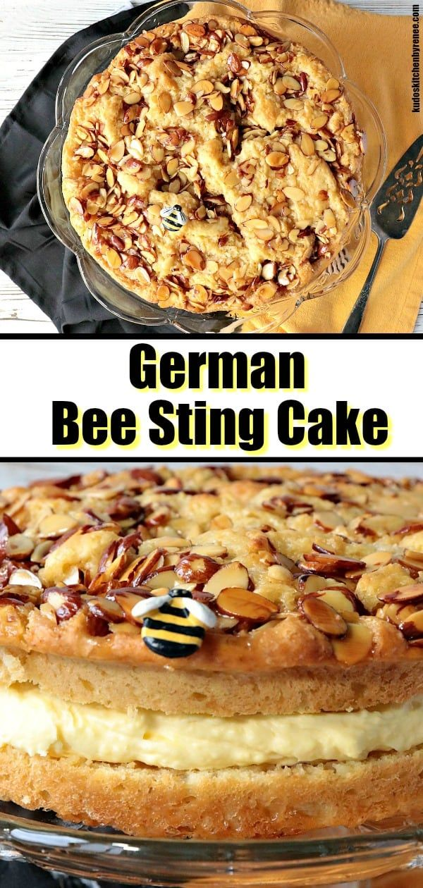 German Bee Sting Cake (Bienenstich) Kudos Kitchen Style #honeycake