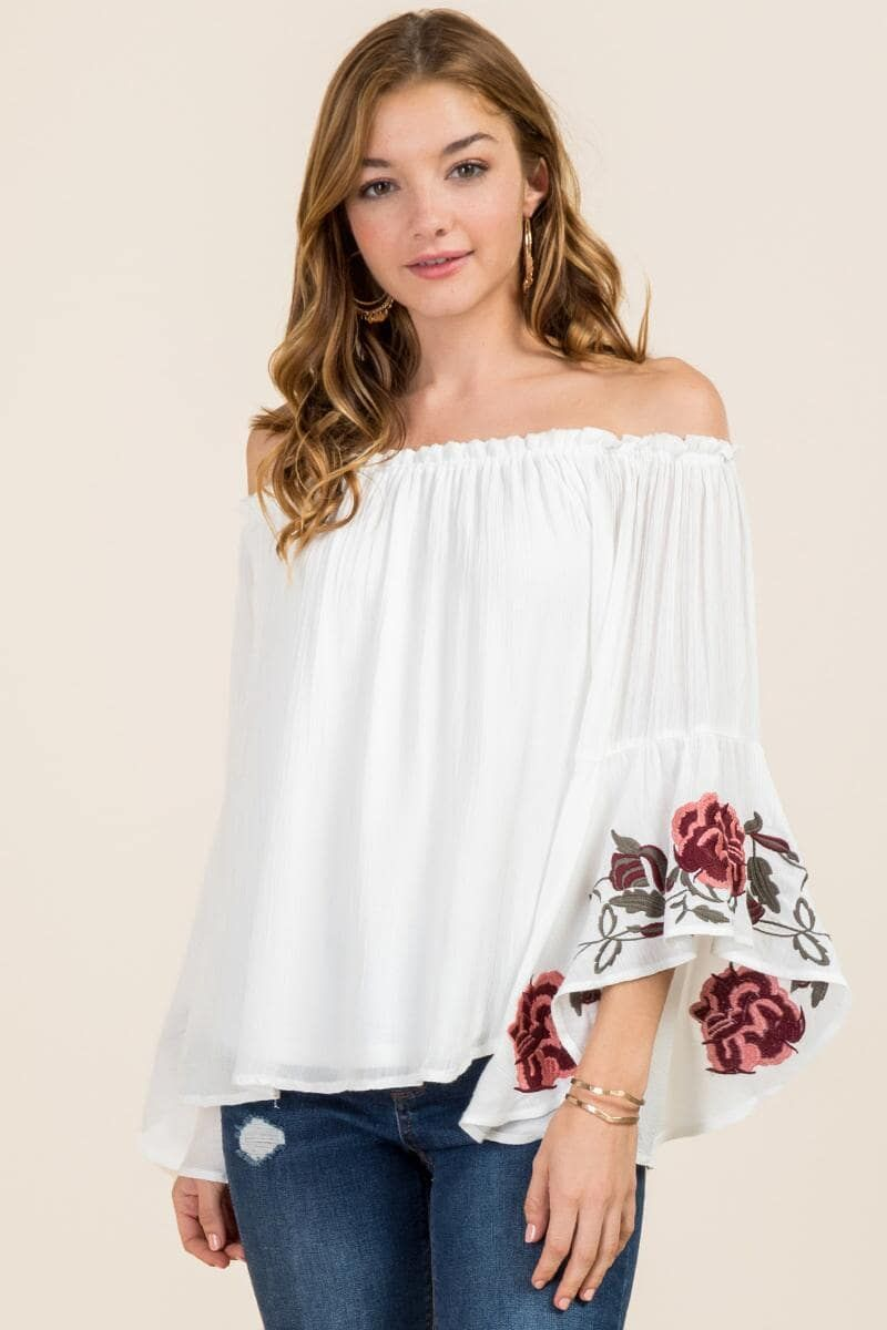 e7013c65b7c1 White Aleen Floral Embroidered Ruffle Off The Shoulder Top | francesca's