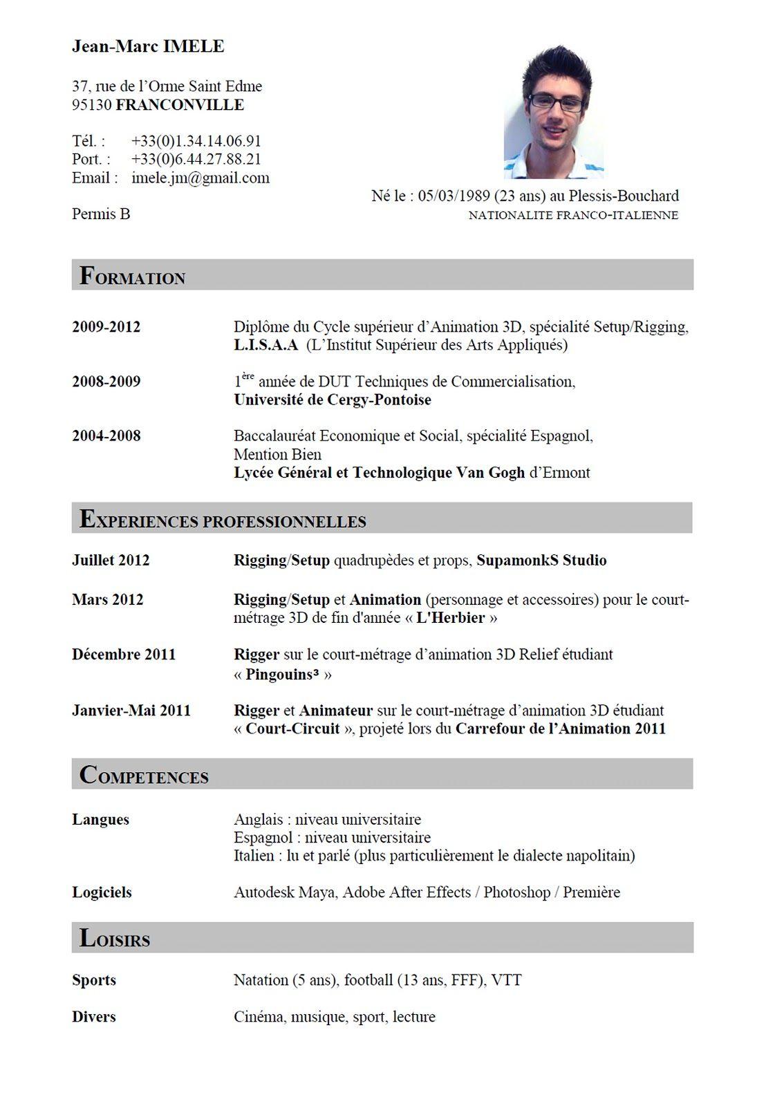 cv en ligne english (With images) Sample resume format