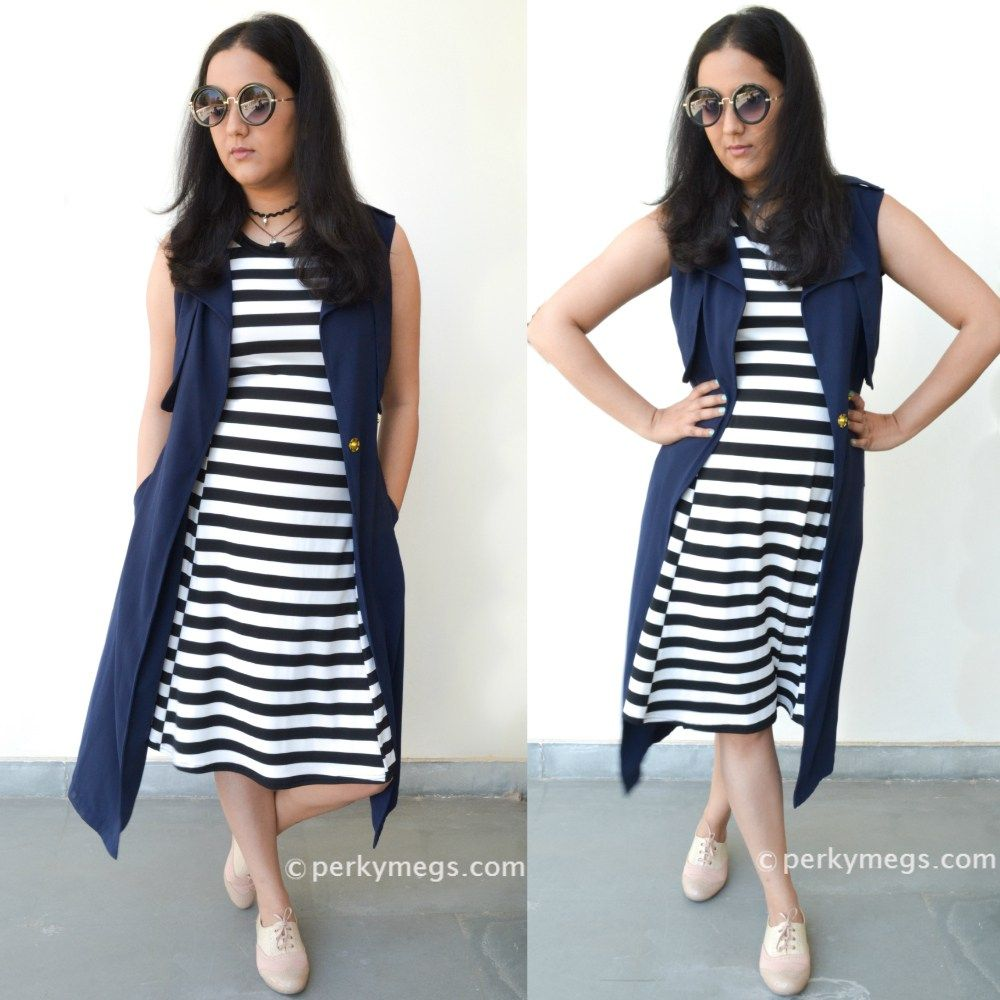 19726ffb218b 5 dresses to hide tummy. Striped dress with long sleeveless vest ...