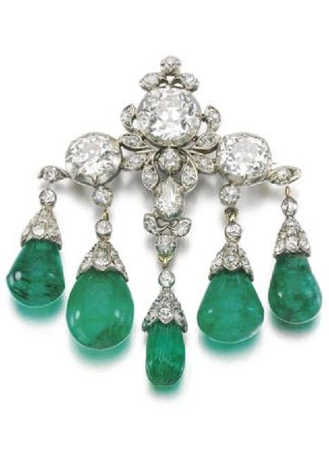 2c5ca1450 Brooches Emerald and diamond brooch second half of 19th