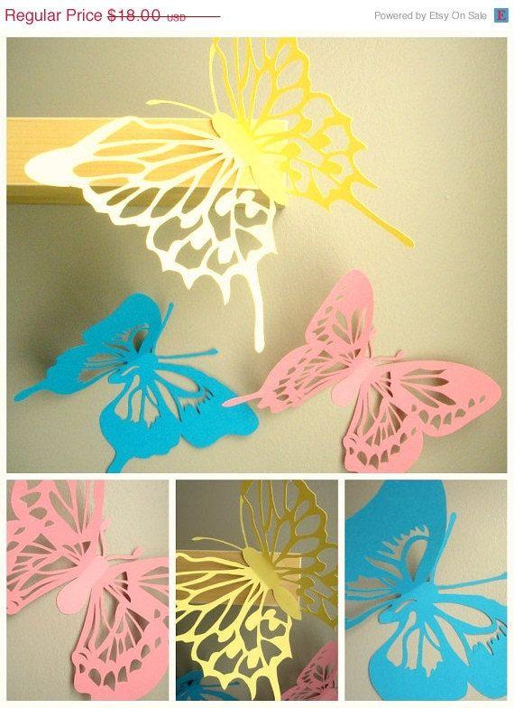 Large 10 Inch 3d Wall Butterflies, 3d Wall Art, Butterfly Wall Art ...