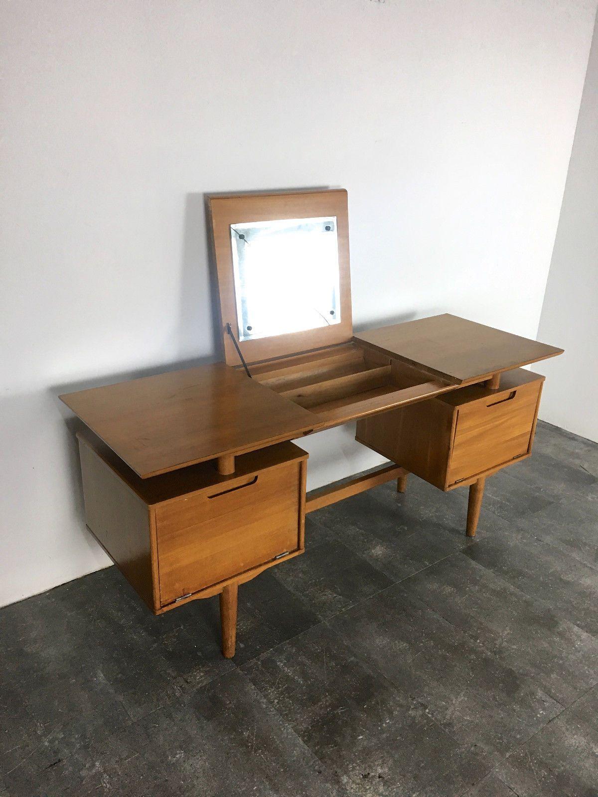 Make Photo Gallery RARE Vintage Milo Baughman Drexel Floating Vanity Desk Mid Century Modern eBay