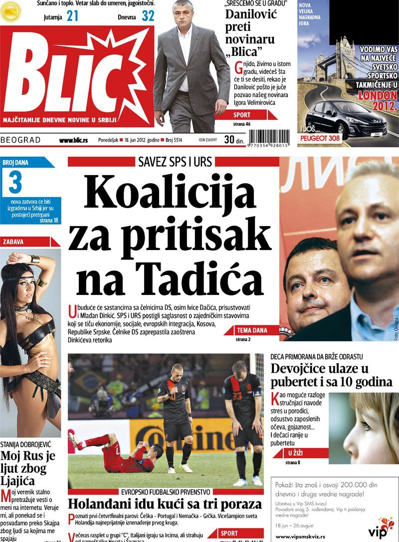 "Épinglé sur Naslovne strane ""Blica"""