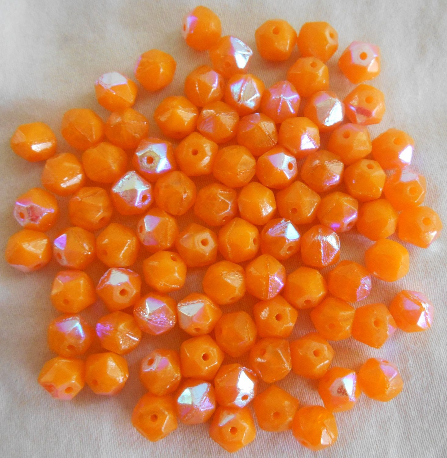 Lot of 30 orange AB Czech glass, faceted round 6mm beads