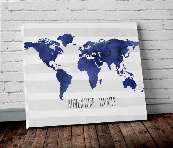 Watercolor navy blue world map canvas wall art adventure awaits watercolor navy blue world map canvas wall art adventure awaits canvas print boys nursery gumiabroncs Choice Image