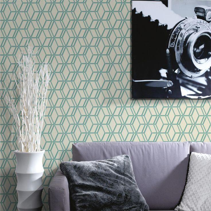 Un Joli Mur Aux Formes Geometriques Couleur Vert D Eau Papier