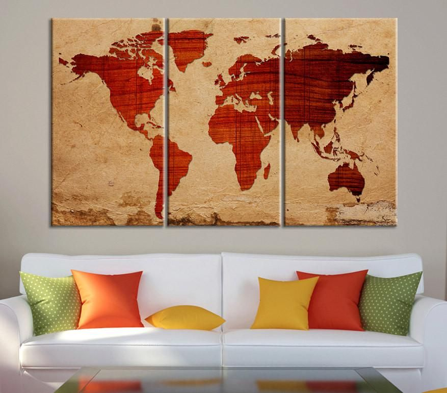 Canvas print wooden background world map canvas print 3 panel canvas print wooden background world map canvas print 3 panel canvas art print ready to hang gumiabroncs Images
