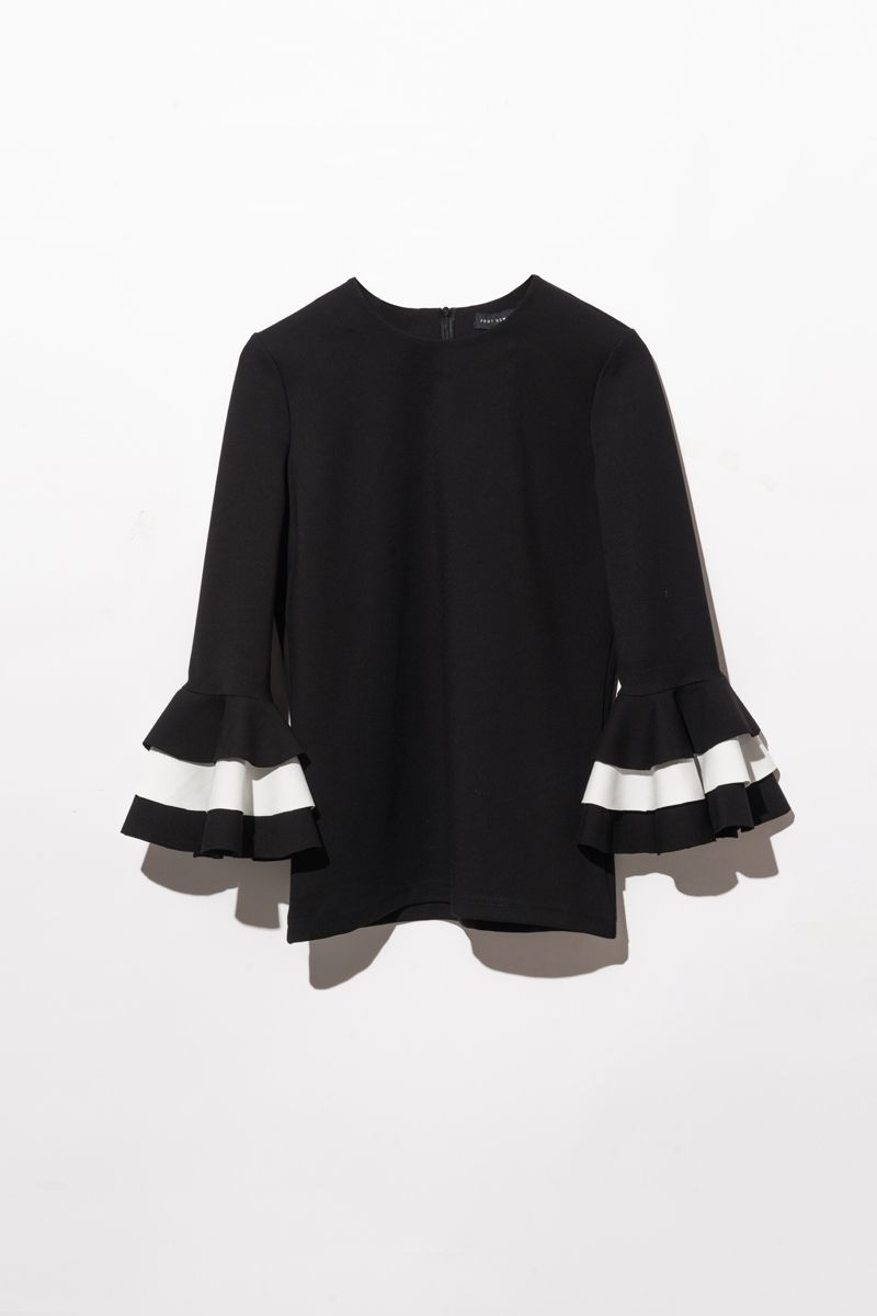 FRS Black Layered Colorblock Flare Sleeve T-shirt - FrontRowShop