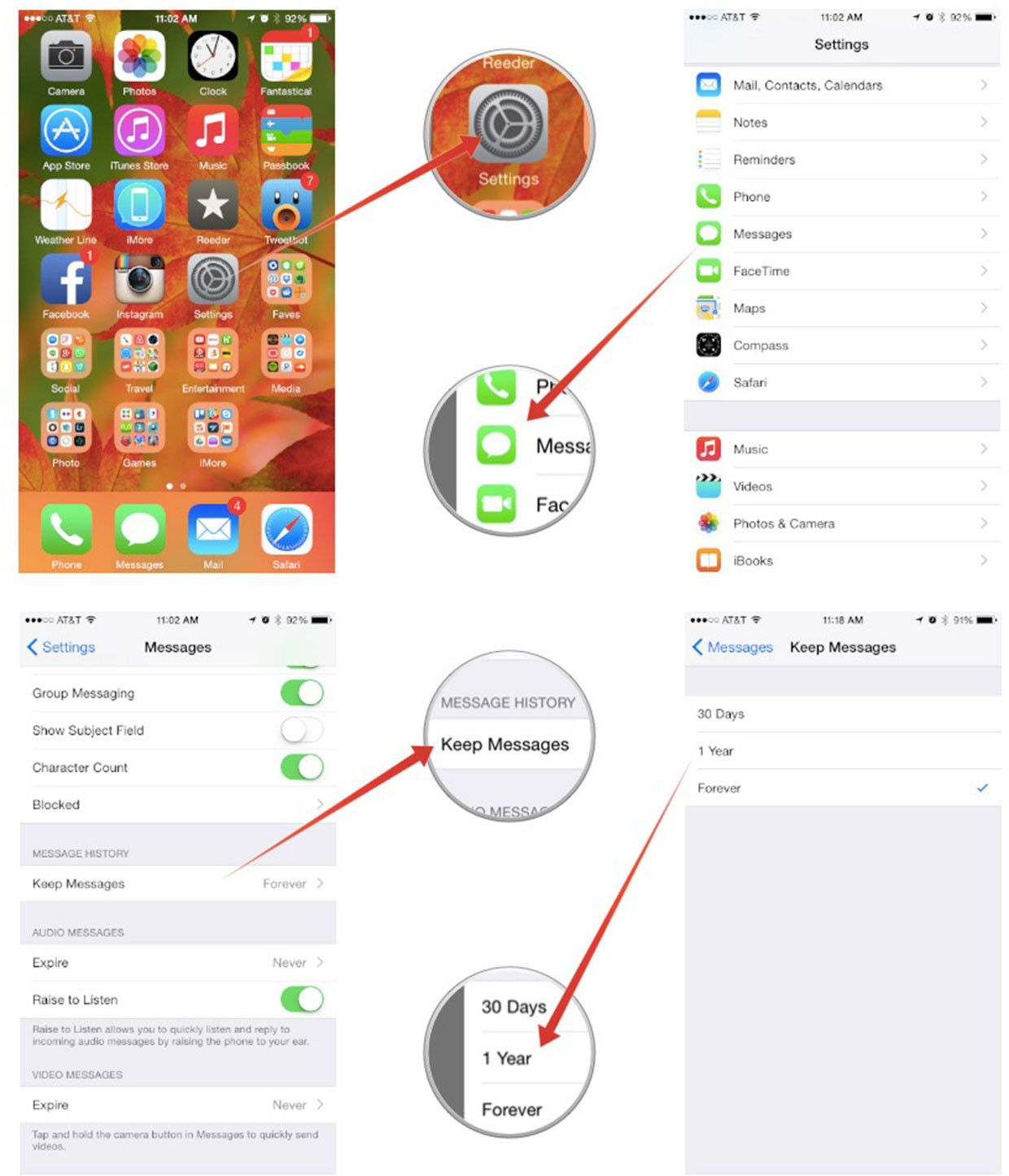 How to set messages delete automatically on ios 8 the