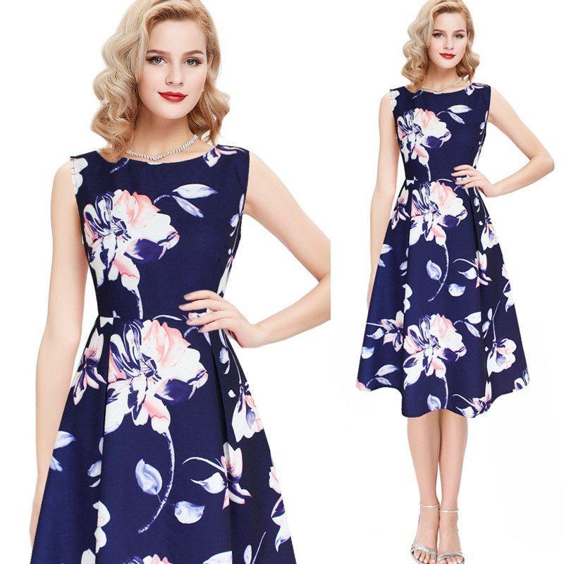 Womens Fashion High Waist Dress Floral  Print A Line Casual Work Party Dresses
