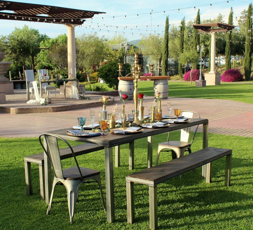 Industrial farm tables seating benches industrial