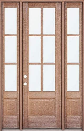 80 6 Lite Mahogany Prehung Wood Door Unit With Sidelites