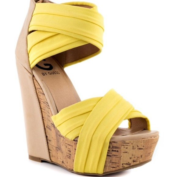 1c4b761f865e24 G by GUESS Embarka Yellow Wedge Sandal sz 8.5 MOST COMFY SHOES EVER. I  loved the yellow ones so much