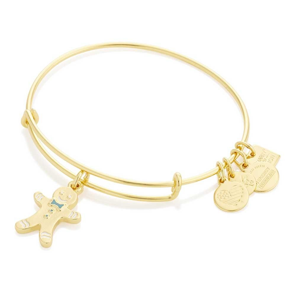 Alex and ani ladies gold plated gingerbread man charm bangle