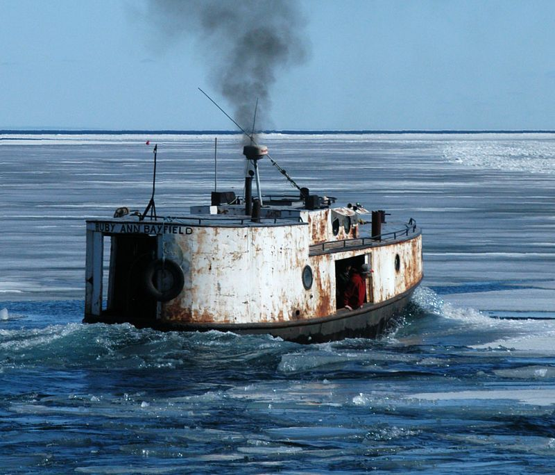 A local fish tug breaking the ice boat design net for Lake fishing boats