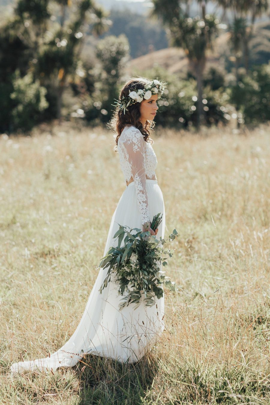 Boho Bride With Green And White Flower Crown Wedding Wedding