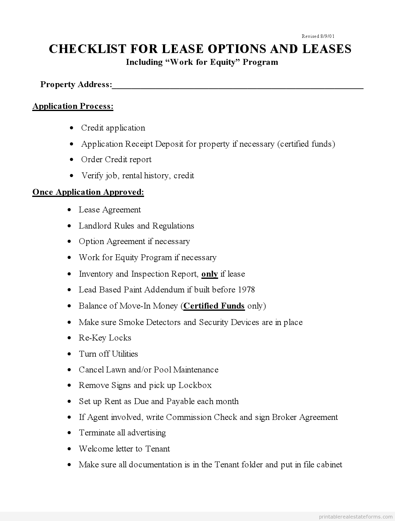 Sample Printable Checklist For Lease Options And Leases Real