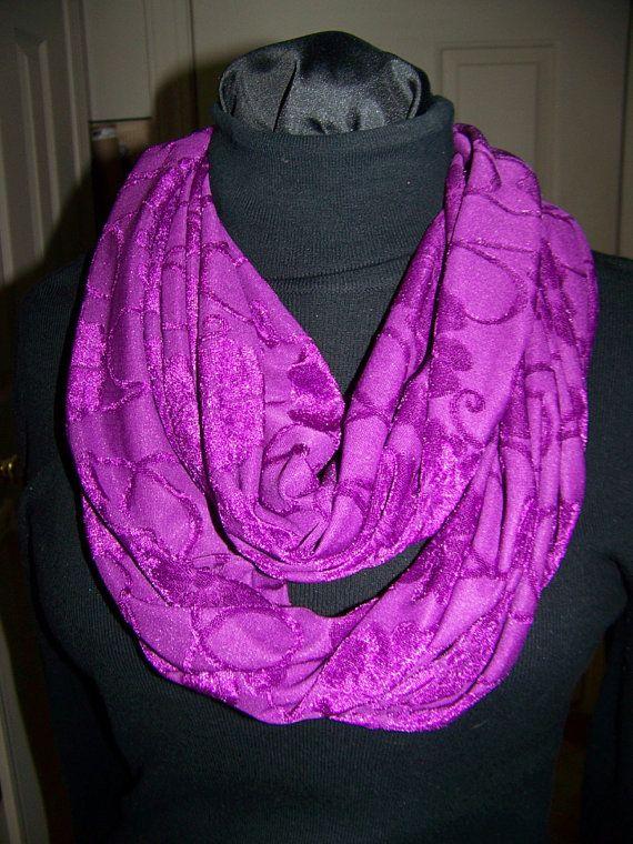 Ladies Infinity Scarf Purple floral print Jersey by civilwarlady
