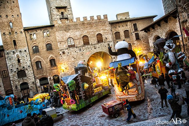 Carnival time in San Gimignano!  This lovely medieval village gets a boost of life in otherwise dull February with the Carnevale - Carnival time - with floats marching around the Piazza Duomo or Piazza della Cisterna and music, confetti and fun for young and older alike!  Have a look! www.hotelcertaldo.it