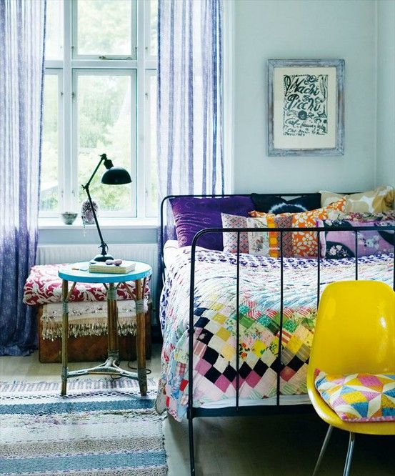 Guest room idea -- homey and mod. #bedroom #purple #yellow