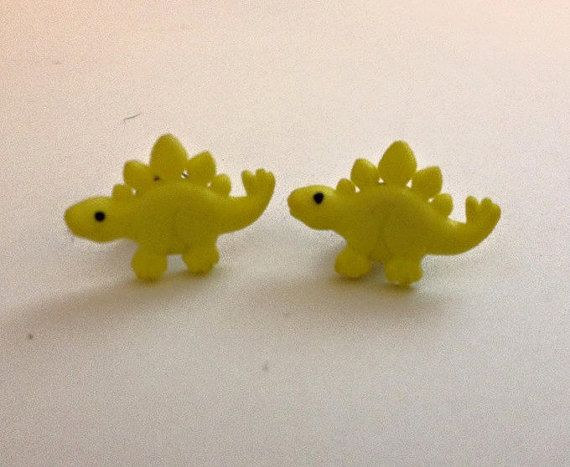 Yellow//Dinosaur//Mini//Adorable//Stud//Earrings by LifeCouldBeSweet