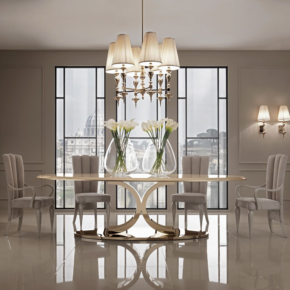 126 Custom Luxury Dining Room Interior Designs: Luxury Gold Leaf Oval Designer Dining Set (With Images