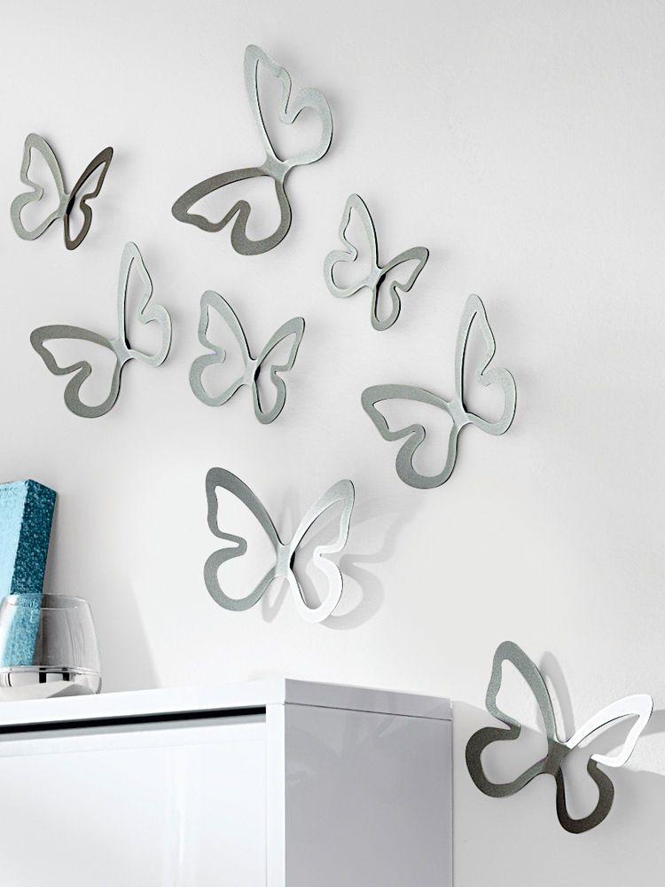 Idees deco interieur papillons design mural inox