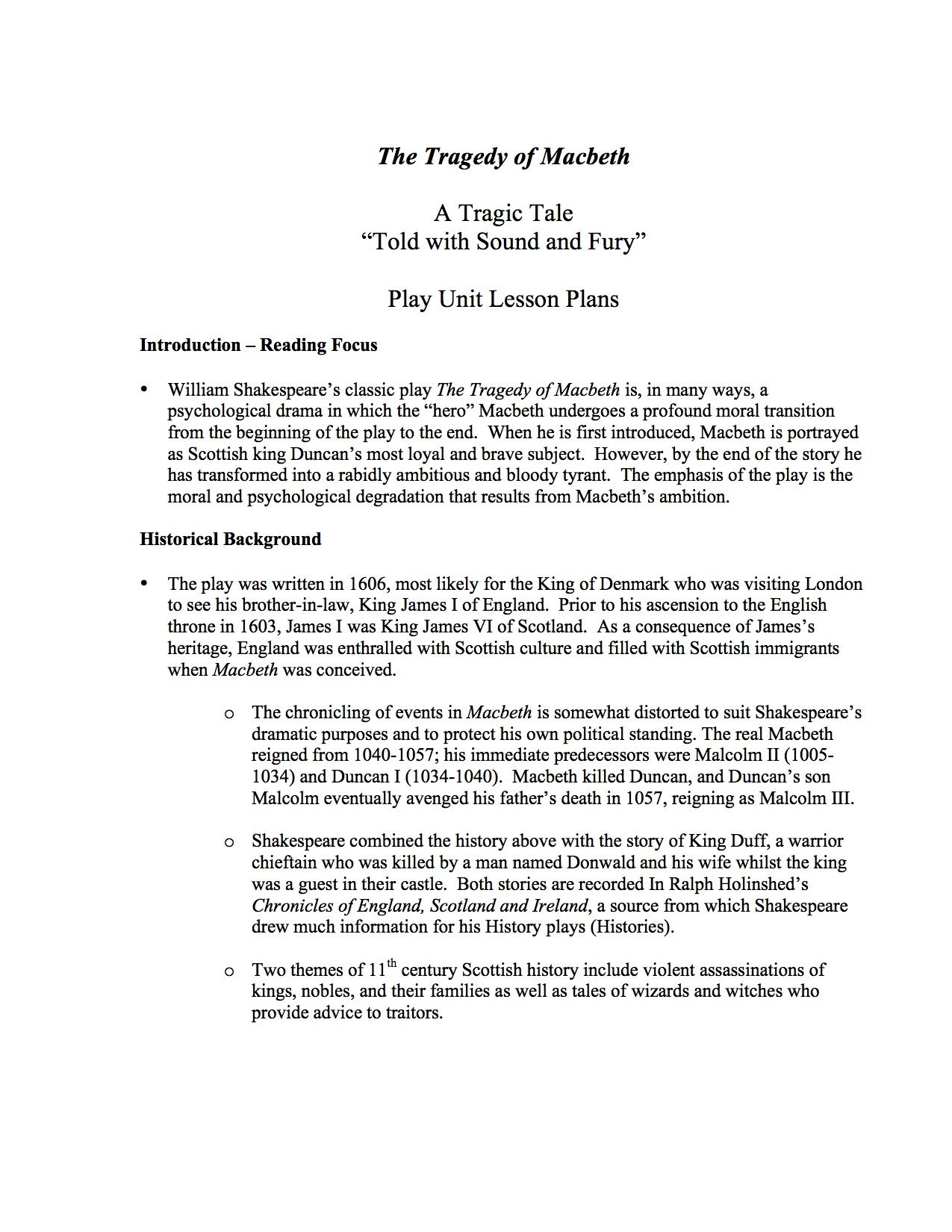 Macbeth Unit Lesson Plans - A comprehensive unit study of Shakespeare's  classic play. This 35-bundled unit contains basic information and  assessment ...