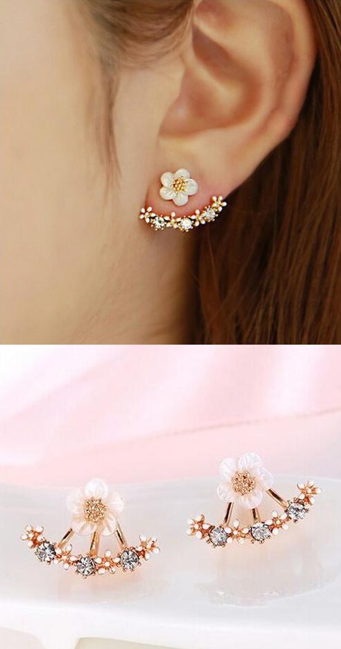 MengPa Star Fashion Jewelry Rhinestone Front Back Ear Jackets Stud Earrings for Women lvJM3