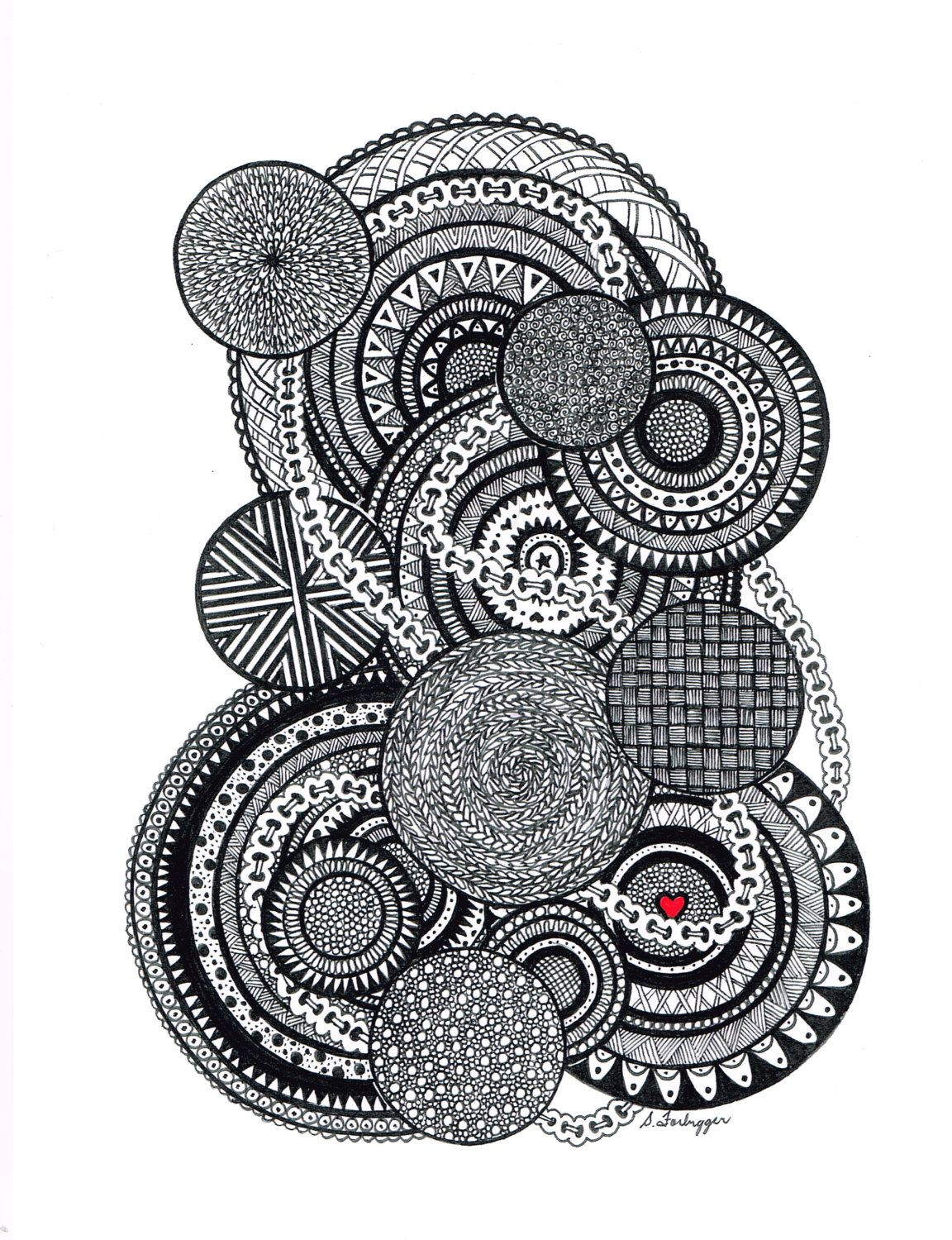 black and white zentangle abstract drawing original art print by limegreenartshop on etsy https