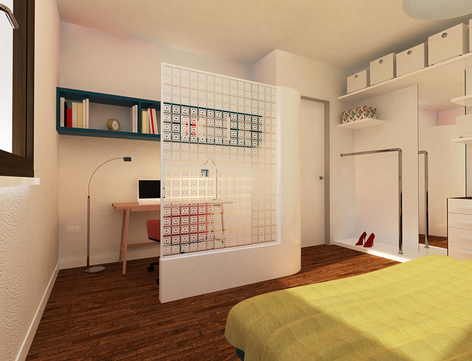 Una quinta semitrasparente per separare una zona studio for Studio in camera da letto
