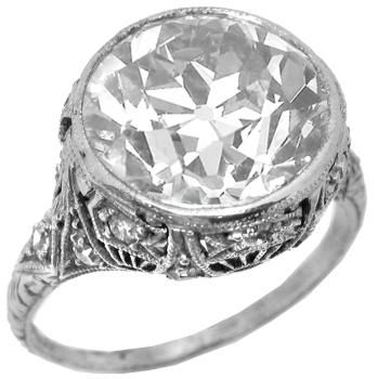 Art Deco 4.55ct Old  Mine Diamond Platinum Ring