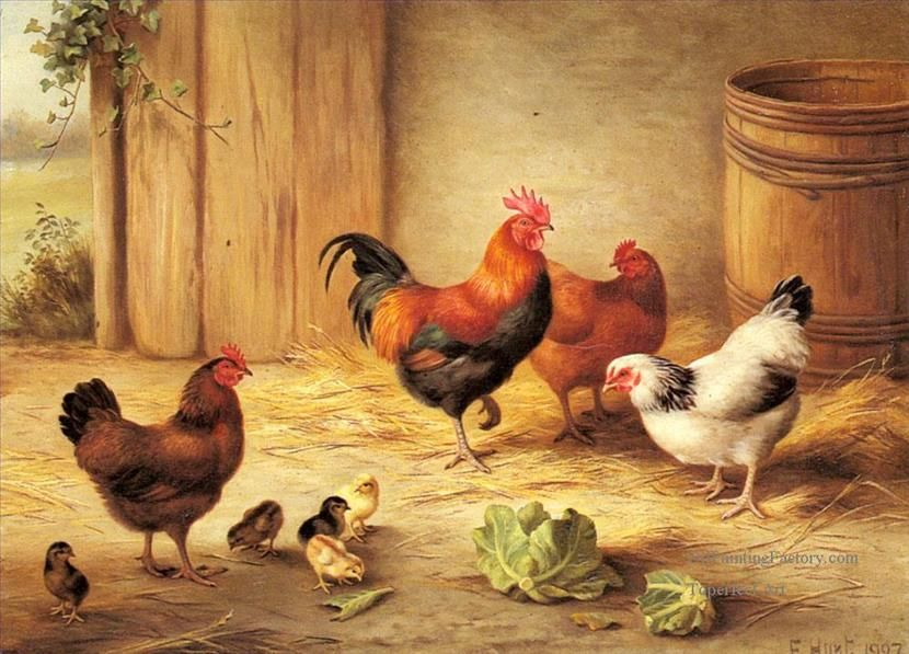 Oil Paintings of 5 Chickens And Chicks farm animals Edgar ...