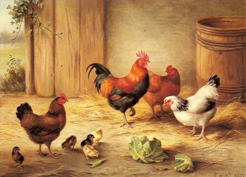 Oil Paintings of 4 Chickens Feeding farm animals Edgar Hunt Art ...