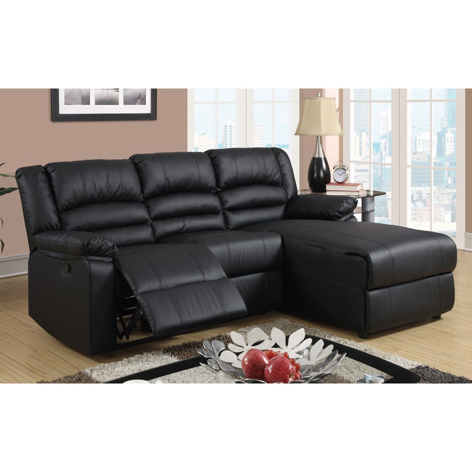Modern Bonded Leather Small Space Sectional Reclining Sofa With Chaise Black Tiny Home Sectional Sofa With Recliner Leather Sectional Sofas Small Sectional Sofa