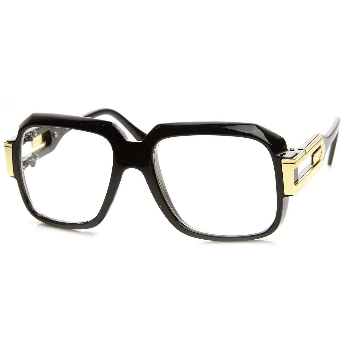 8b03ccc5d122 Large Classic Retro Square Frame RUN DMC Clear Lens Glasses ...