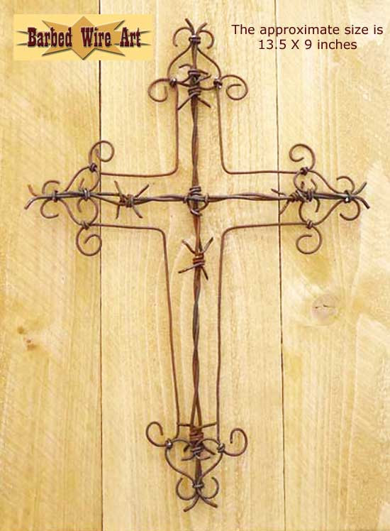 Cross - handmade metal decor barbed wire art country western wall ...