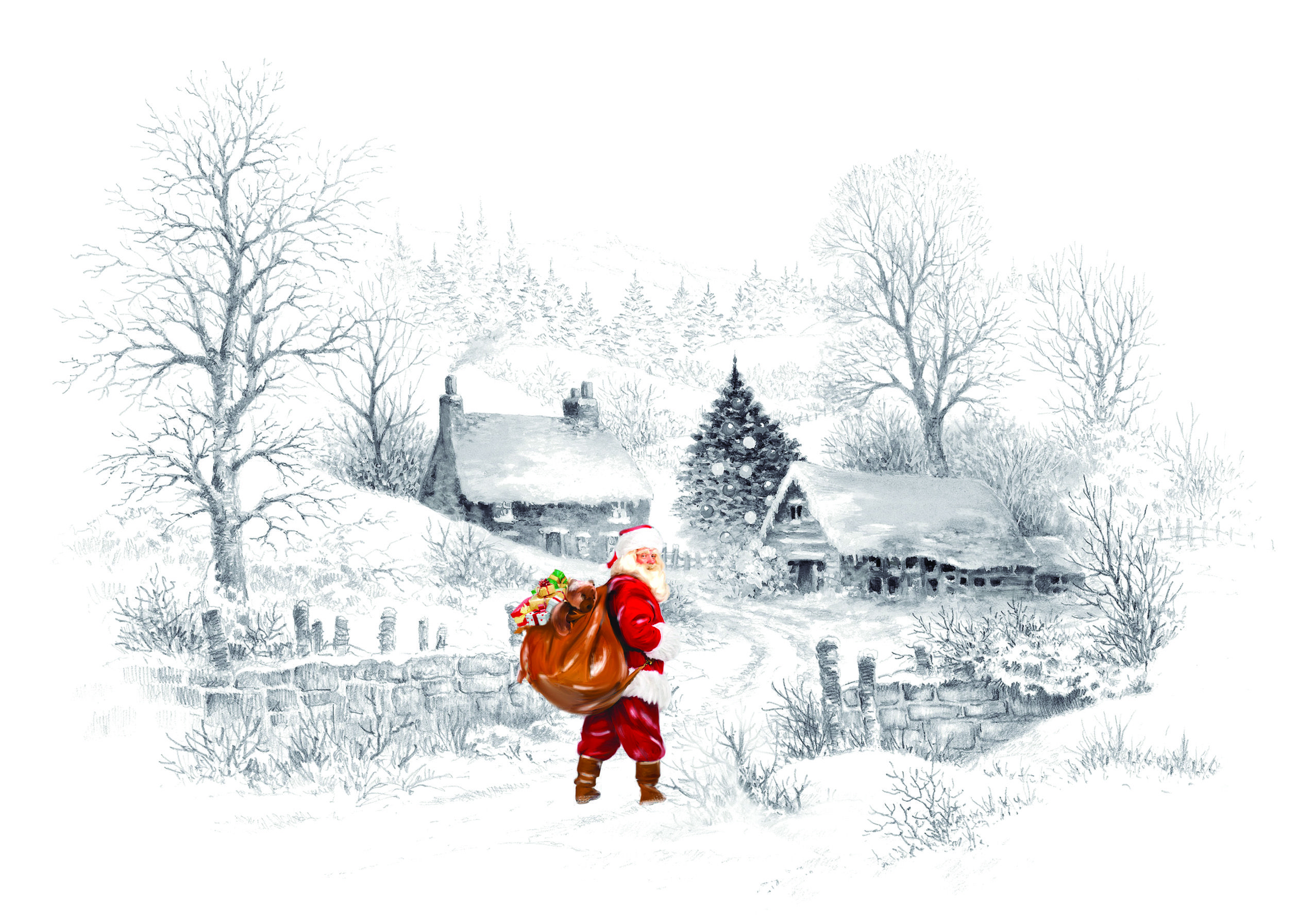 Santa Going Up The Lane Charity Christmas Card in 2020