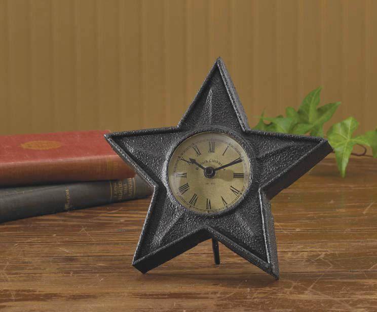 Black Star Table Clock Primitive Homes Table Clock Vintage Clock