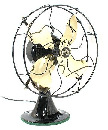 Vintage Fan antique western electric brass 6 blade vintage 1919 dc current 12