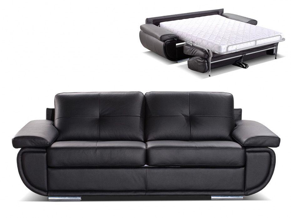 Schlafsofa Leder 3 Sitzer Express Bettfunktion Orgullosa Konfigurierbar Italienisches Leder 2 Farben