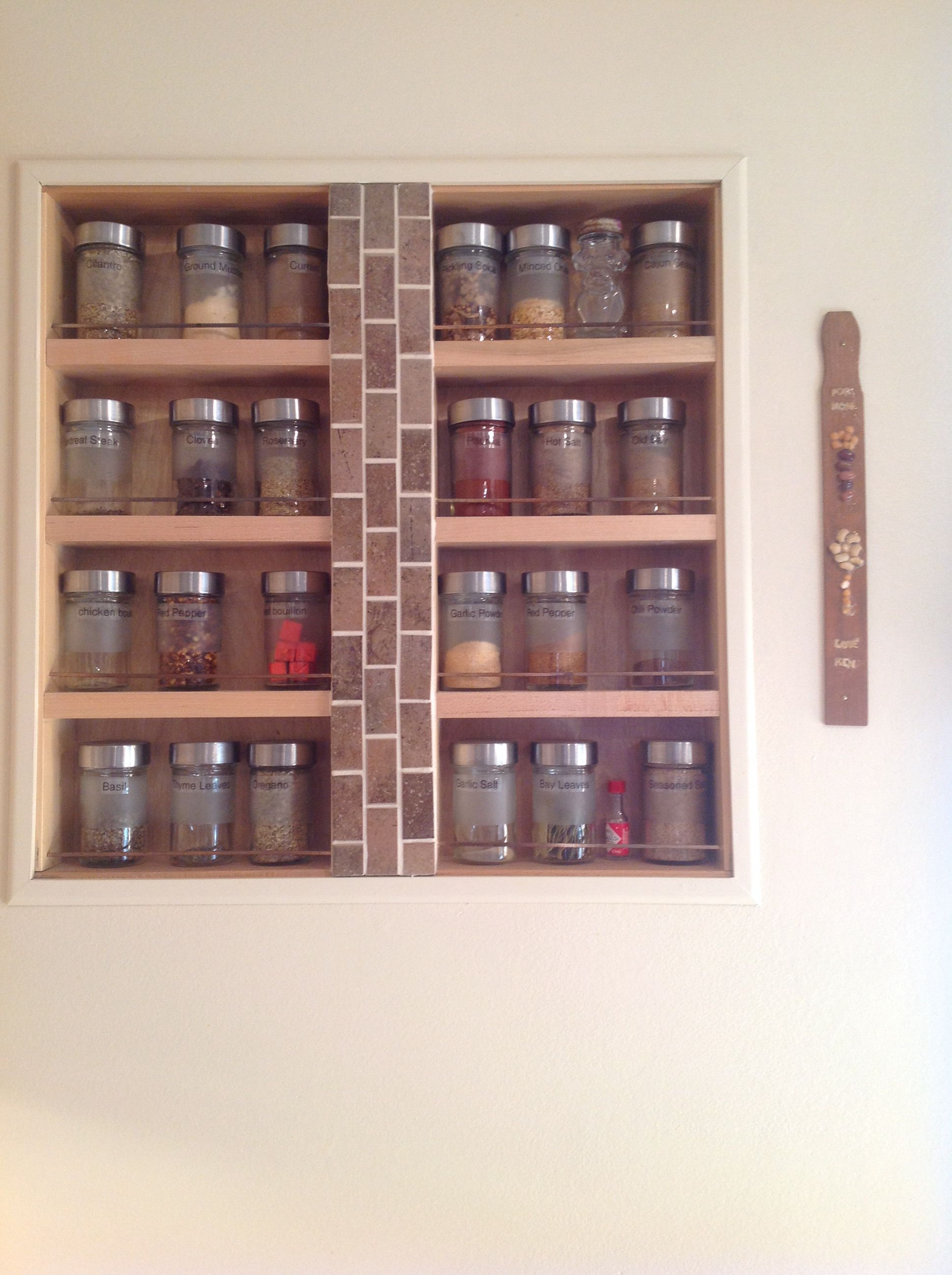 Kitchen drawer spice rack - Spice Rack Made From Kitchen Drawer Inset Between Studs And Framed
